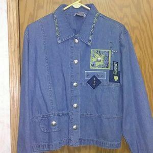 CHRISTOPHER & BANKS Denim Jacket Large